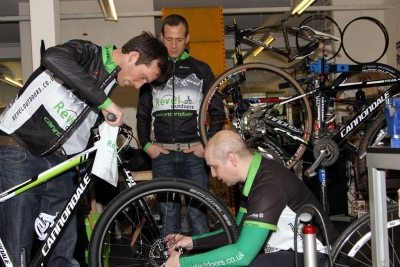 Bike Prep in the Revel Outdoors Workshop
